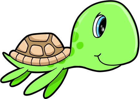 cute cartoon: Cute Happy Summer Sea Turtle Animal Vector Illustration