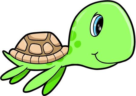 tortuga caricatura: Lindo Mar Tortuga Feliz Verano animal ilustración vectorial