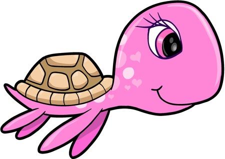 tortuga caricatura: Rosa Chica Verano Tortugas Marinas animal ilustración vectorial