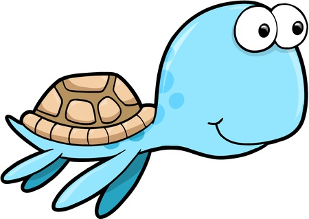 Silly Happy Summer Sea Turtle Animal Vector Illustration Çizim