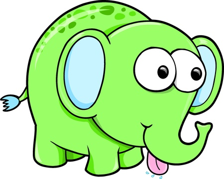 with humor: Silly Funny Elephant Animal Vector Illustration Illustration