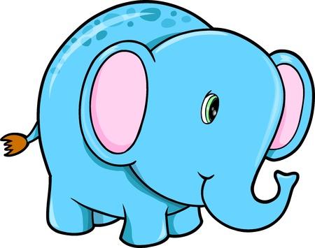 wildlife smile: Cute Happy Elephant Animal Vector Illustration