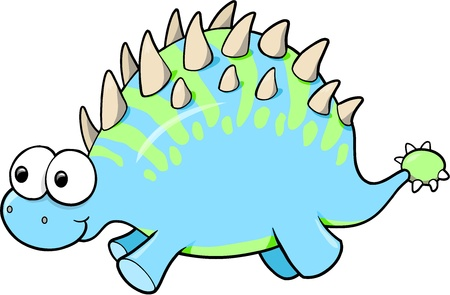 Silly Funny Goofy Dinosaur Animal Vector Illustration Ilustracja