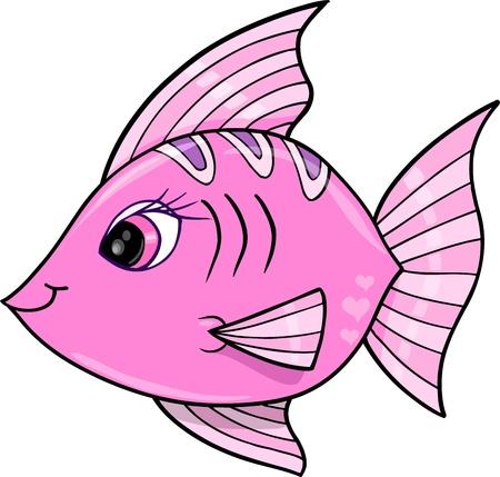 핑크 소녀 물고기 바다 벡터 일러스트 레이 션