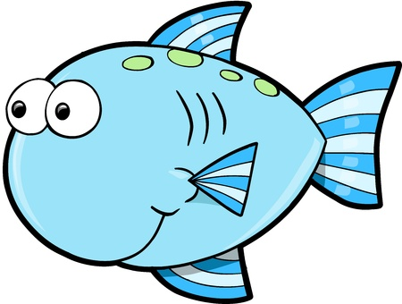 fishes: Silly Cute Fish Ocean Vector Illustration