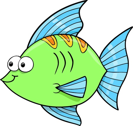 goofy: Cute Goofy Fish Ocean Vector Illustration