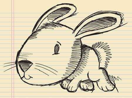 Notebook Doodle Sketch Easter Bunny Rabbit Vector Illustration Art
