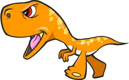 dinosaurio caricatura: Tough dinosaurio T-Rex Orange Ilustraciones vectoriales Vectores