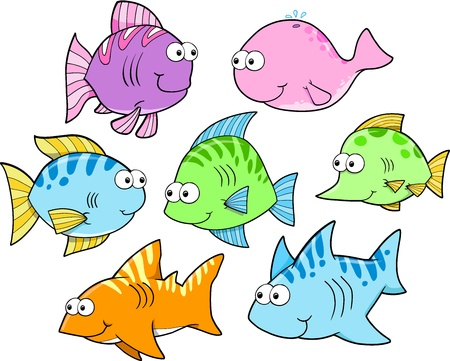 cartoon whale: Summer Fish Vector Illustration Art Set