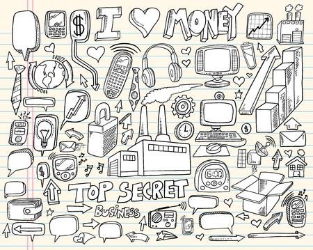 remote lock: Tecnolog�a port�til Doodle de negocios Elementos de dise�o vectorial Ilustraci�n Set