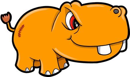 Angry Nijlpaard Safari Animal Vector Illustratie Art