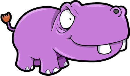 Crazy Hippopotamus Safari Animal Vector Illustration Art