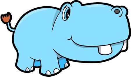 Mignon Hippopotame Safari Animal Art Illustration Vecteur Banque d'images - 12413995