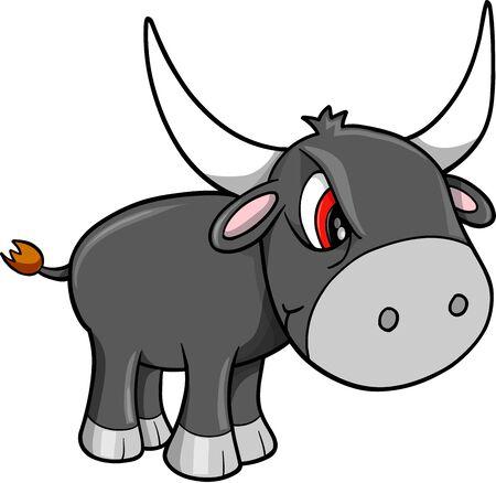 Mean Nasty Bull Cattle Animal Vector Illustration Art