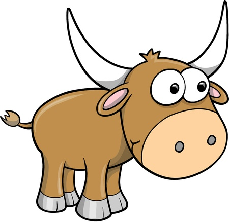 funny ox: Goofy Happy Bull Cattle Animal Vector Illustration Art