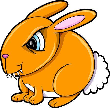 Bad Orange Bunny Rabbit Animal Vector Illustration Art Illustration