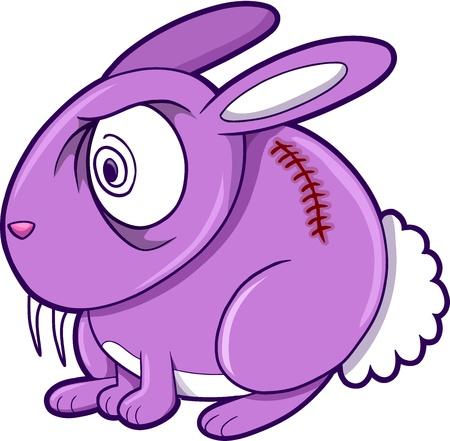Crazy Purple Bunny Rabbit Animal Vector Illustration Art Illustration