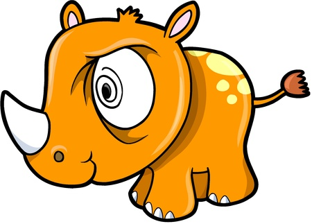 Crazy Insane Rhinoceros Safari Animal Vector Illustration Art 版權商用圖片 - 12414849