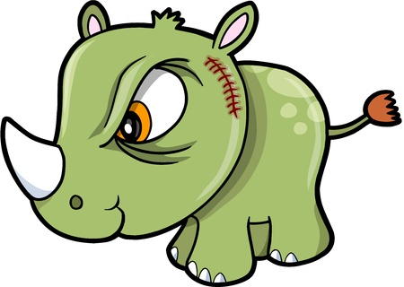 Tough Bad Rhinoceros Safari Animal Vector Illustration Art