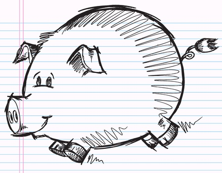 Notebook Doodle Sketch Pig Vector Illustration Vectores