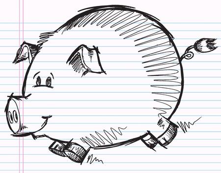 notebook: Notebook Doodle Sketch Pig Vector Illustration Illustration