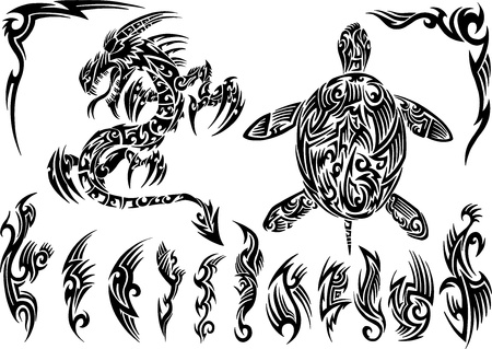 Dragon and Turtle Tattoo Set Vector Illustration  Vettoriali