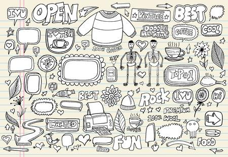 Notebook Doodle Speech Bubble Design Elements Vector Illustration Set