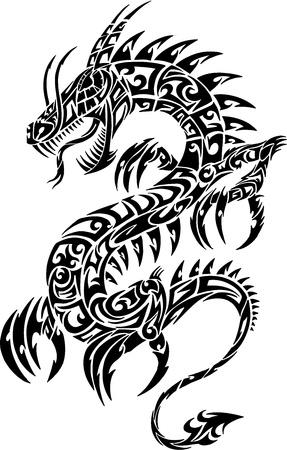 Iconic Dragon Tribal Tattoo Vector Illustration   イラスト・ベクター素材