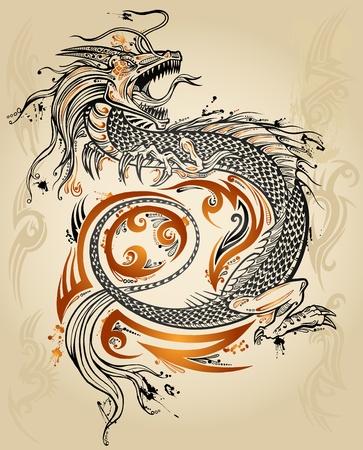 Dragon Doodle Sketch Tattoo Icon Tribal grunge Vector Illustration Art   イラスト・ベクター素材