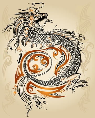 tribal dragon: Dragon Doodle Sketch Tattoo Icon Tribal grunge Vector Illustration Art  Illustration