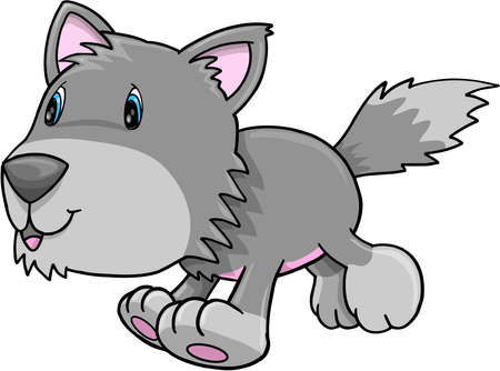 Cute Gray Wolf Puppy Dog Vector Illustration Art Stock Vector - 12415055