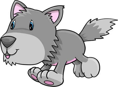 Cute Gray Wolf Puppy Dog Vector Illustration Art Vector