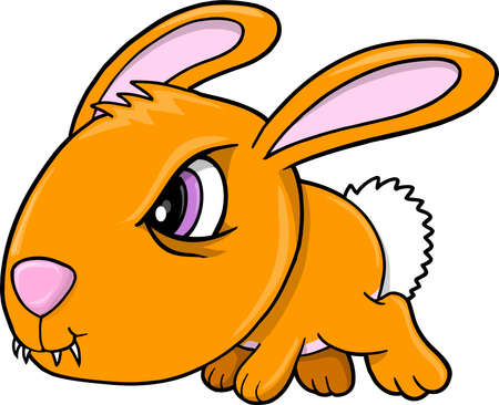 Tough Orange Bunny Rabbit Animal Vector Illustration Art Stock Vector - 12415132
