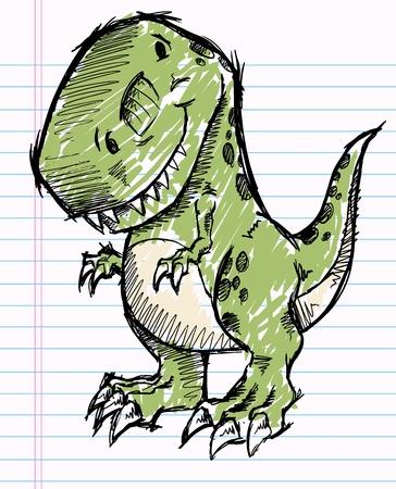 Tyrannosaurus Dinosaur Doodle Sketch Vector Illustration