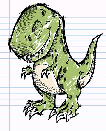 dinosauro: Tyrannosaurus Dinosaur Sketch Doodle Illustrazione Vettoriale Vettoriali