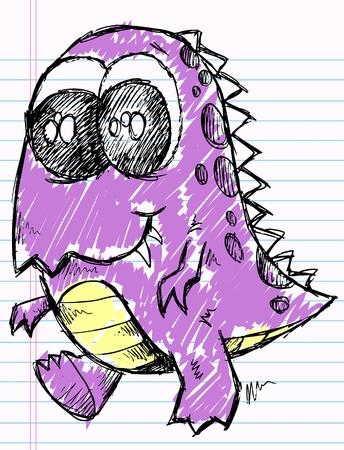 Doodle Sketch Monster Beast Dinosaur Vector Illustration
