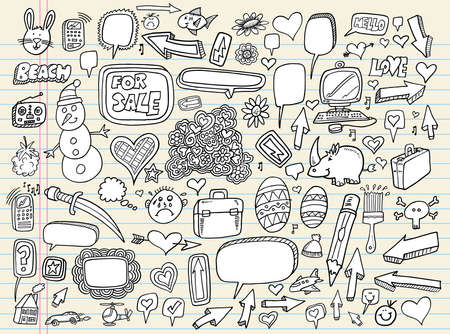 Notebook Doodle Speech Bubble Design Elements Mega Vector Illustration Set  Vector