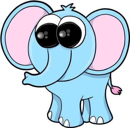 Silly Blue Elephant Vector illustration Art 向量圖像