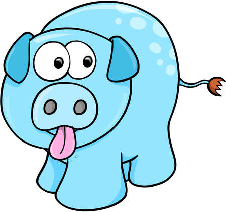 Silly Farm Pig Vector Illustration Art 向量圖像