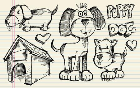 Notebook Doodle Sketch Puppy Dog Vector Illustration Pet Set
