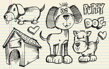 Notebook Doodle Sketch Puppy Dog Vector Illustration Pet Set