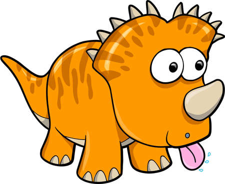 Silly Orange Dinosaur Animal Vector Illustration Art Ilustração
