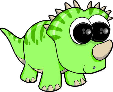 Super Cute Dinosaur Animal Vector Illustration Art Ilustração