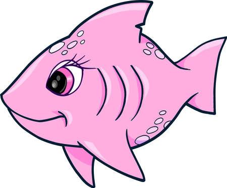 cute girl: Pink Girl Shark Ocean Summer Vector Illustration Illustration