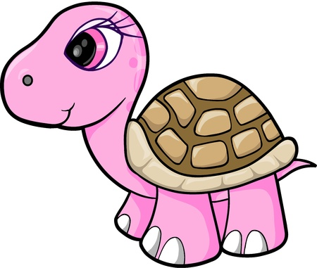 Pink Girl Turtle Animal Wildlife Vector Illustration Art