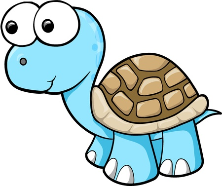 goofy: Silly Blue Turtle Animal Wildlife Vector Illustration Art