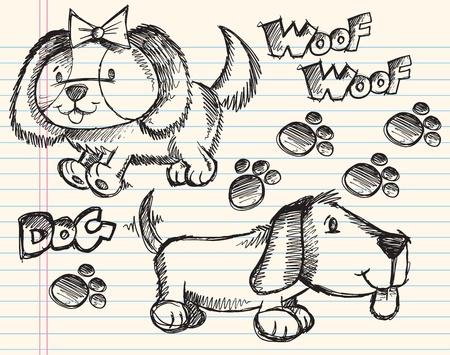 Puppy Dog Sketch Doodle Vector Illustratie Set Stock Illustratie
