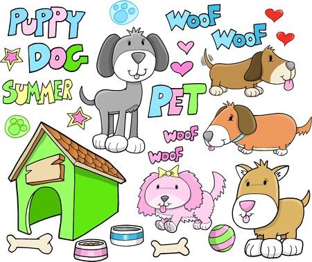 cute dog: Puppy Dog Pet Summer Vector Set