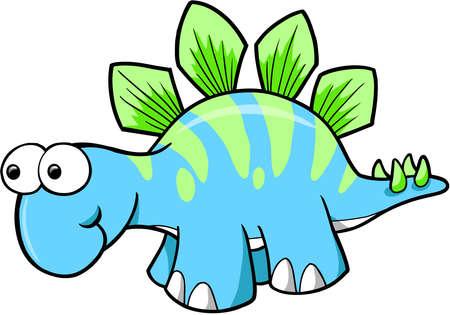 Silly Stegosaurus Dinosaur Vector Vector