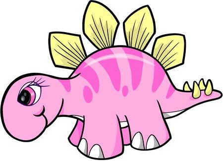 stegosaurus: Chica Vector dinosaurio Stegosaurus Vectores